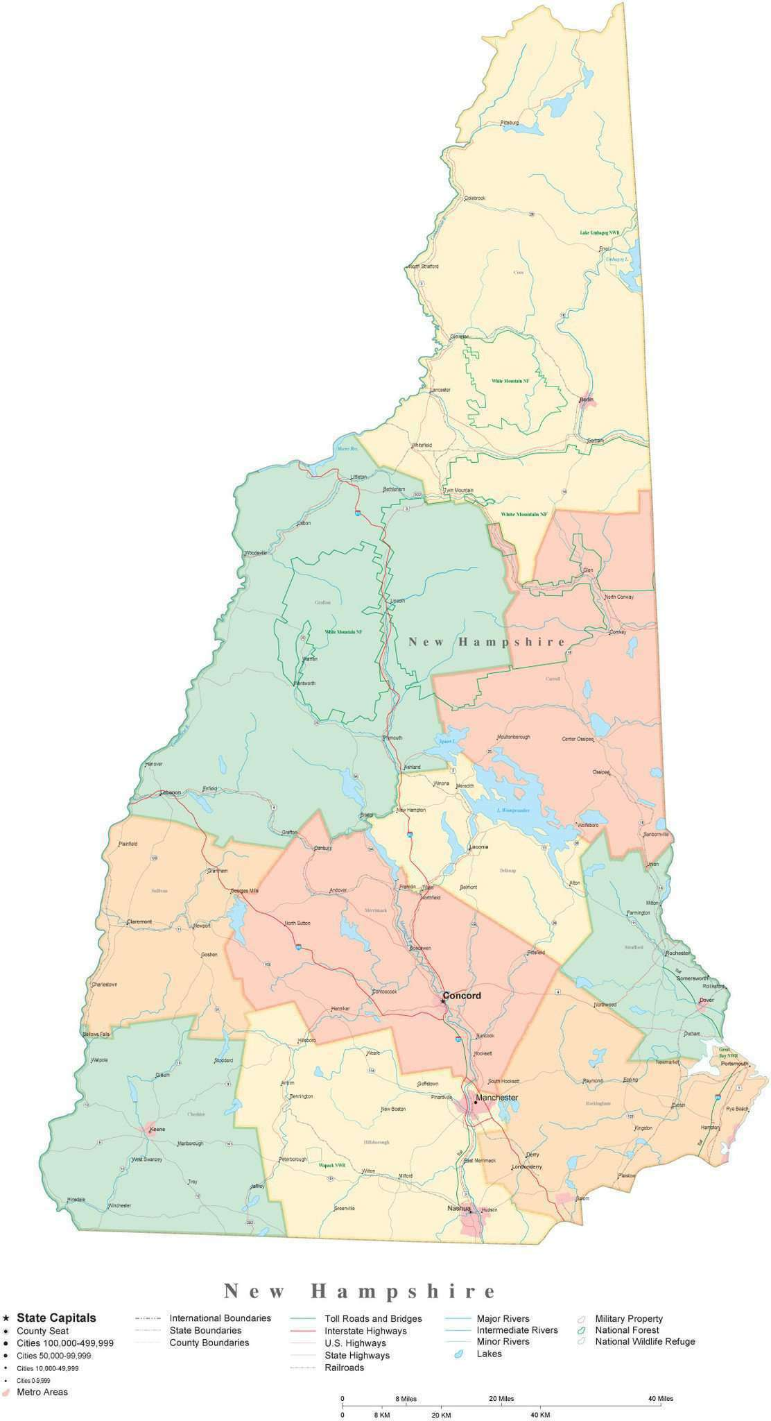 Detailed New Hampshire Cut Out Style Digital Map With Counties Cities Highways National Parks And More