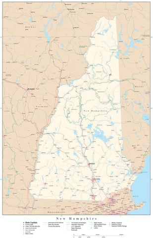 Poster Size New Hampshire Map with County Boundaries, Cities, Highways, National Parks, and more