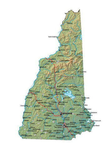 Digital New Hampshire map in Fit Together style with Terrain NH-USA-852127