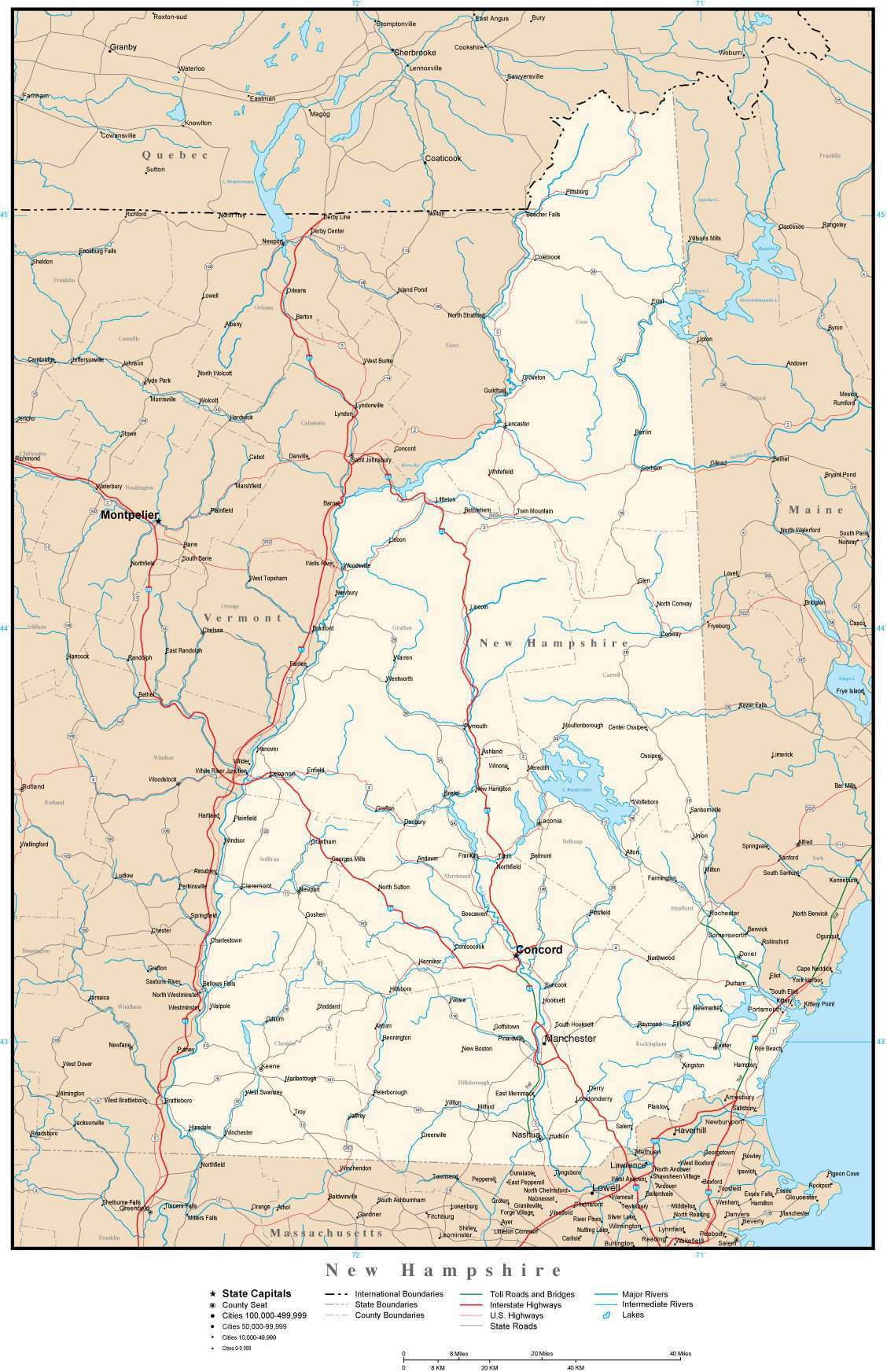New Hampshire On Map Of Usa.New Hampshire Map In Adobe Illustrator Vector Format Map Resources