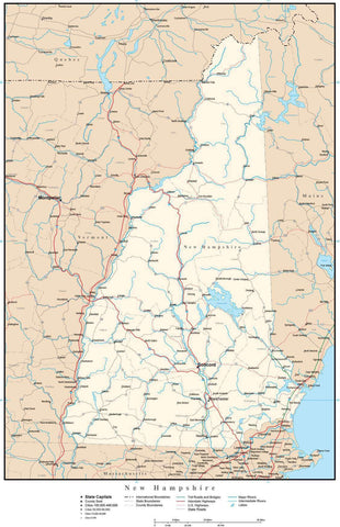 New Hampshire Map with Capital, County Boundaries, Cities, Roads, and Water Features