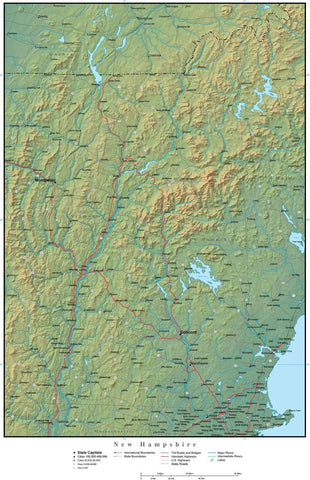 Digital New Hampshire Terrain map in Adobe Illustrator vector format with Terrain NH-USA-942191