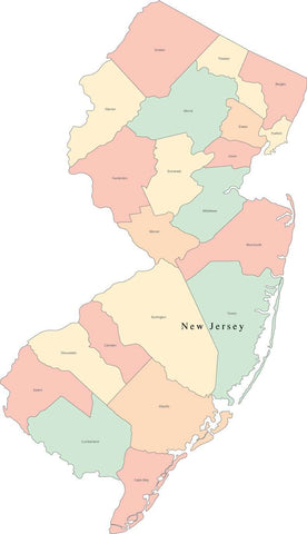 Multi Color New Jersey Map with Counties and County Names