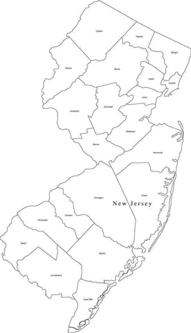 Digital NJ Map with Counties - Black & White