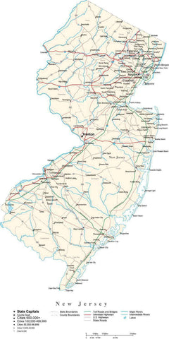 New Jersey Map - Cut Out Style - with Capital, County Boundaries, Cities, Roads, and Water Features