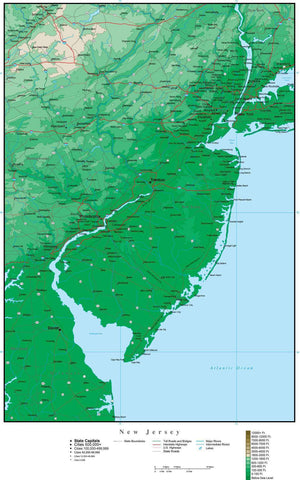 New Jersey Map with Contour Background