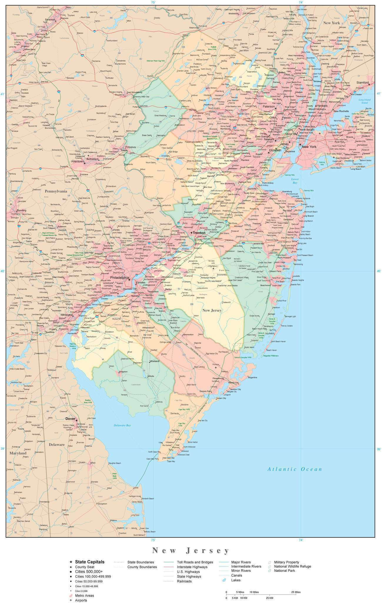 New Jersey State Map in Adobe Illustrator Vector Format. Detailed ...