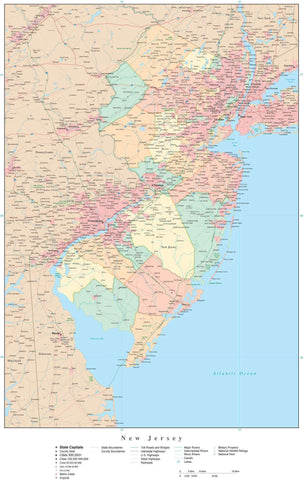 Poster Size New Jersey Map with Counties, Cities, Highways, Railroads, Airports, National Parks and more