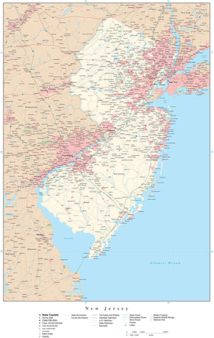 Poster Size New Jersey Map with County Boundaries, Cities, Highways, National Parks, and more