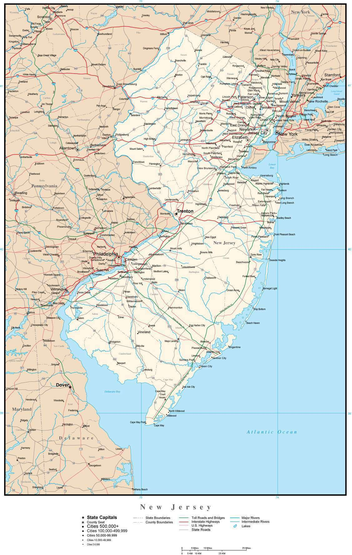 New Jersey Map with Capital, County Boundaries, Cities, Roads, and Water  Features