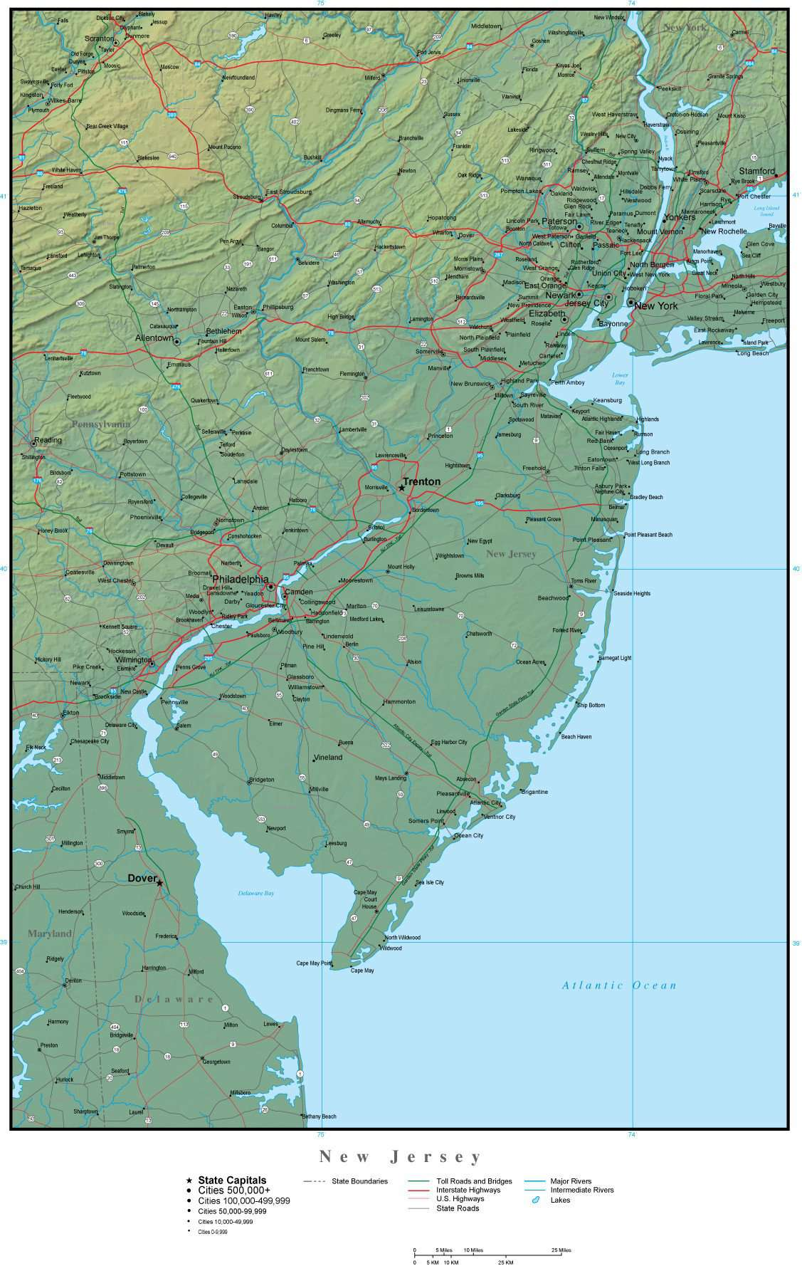 New Jersey On Map Of Usa.New Jersey State Map Plus Terrain With Cities Roads Map Resources