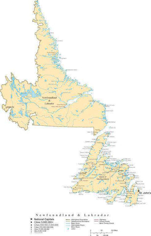 Newfoundland and Labrador Province Map - Cut-Out Style