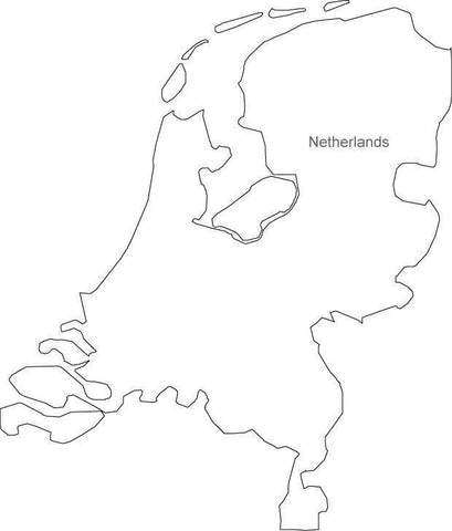 Digital Black & White Netherlands map in Adobe Illustrator EPS vector format
