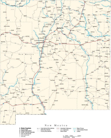 New Mexico Map - Cut Out Style - with Capital, County Boundaries, Cities, Roads, and Water Features