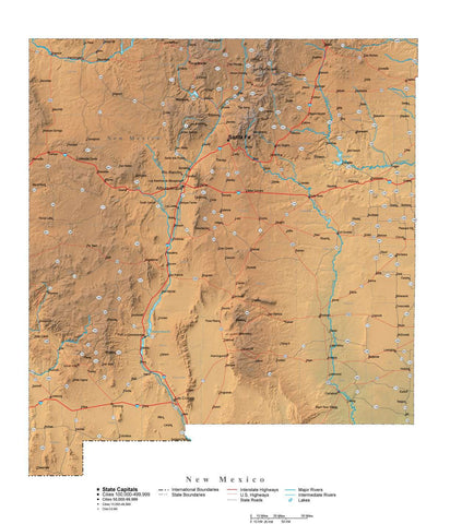 Digital New Mexico State Illustrator cut-out style vector with Terrain NM-USA-242014