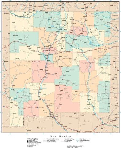 New Mexico Map with Counties, Cities, County Seats, Major Roads, Rivers and Lakes