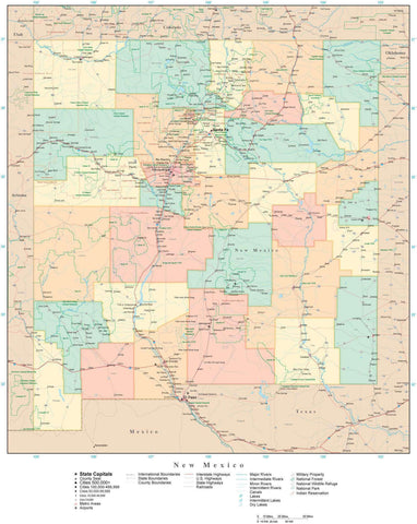 Detailed New Mexico Digital Map with Counties, Cities, Highways, Railroads, Airports, and more