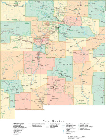 Detailed New Mexico Cut-Out Style Digital Map with Counties, Cities, Highways, and more