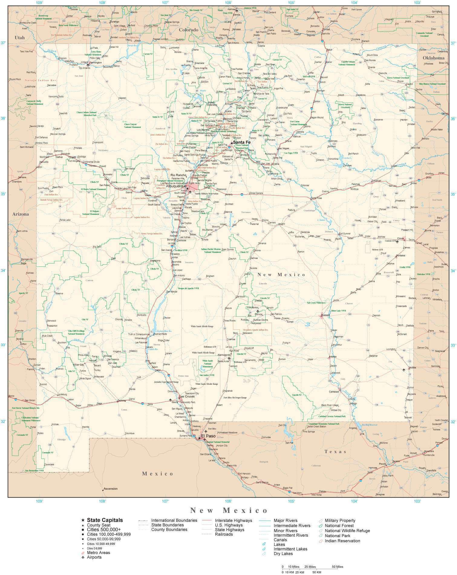 Rivers In New Mexico Map.New Mexico Detailed Map In Adobe Illustrator Vector Format Detailed