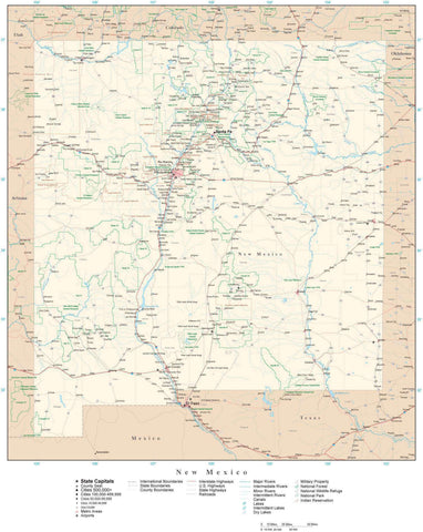 Poster Size New Mexico Map with County Boundaries, Cities, Highways, National Parks, and more