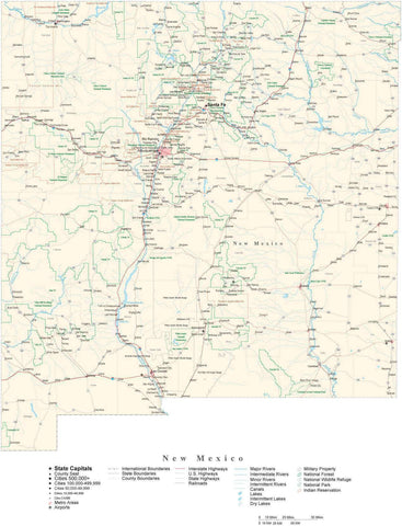 Detailed New Mexico Cut-Out Style Digital Map with County Boundaries, Cities, Highways, and more