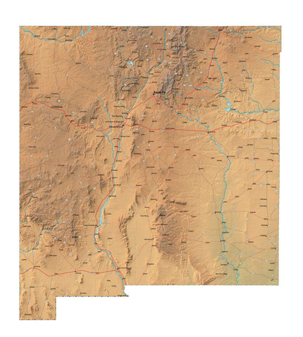 Digital New Mexico map in Fit Together style with Terrain NM-USA-852106