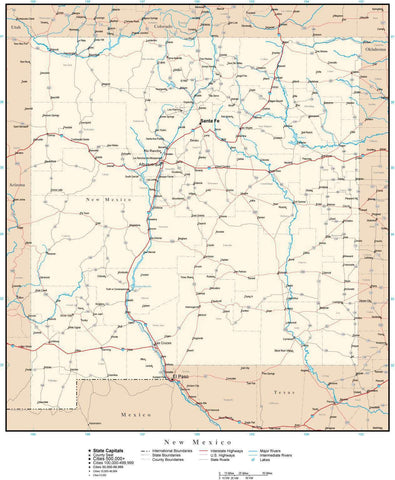 New Mexico Map with Capital, County Boundaries, Cities, Roads, and Water Features