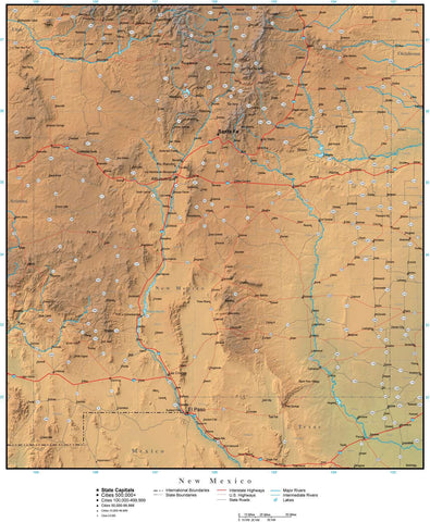 Digital New Mexico Terrain map in Adobe Illustrator vector format with Terrain NM-USA-942195