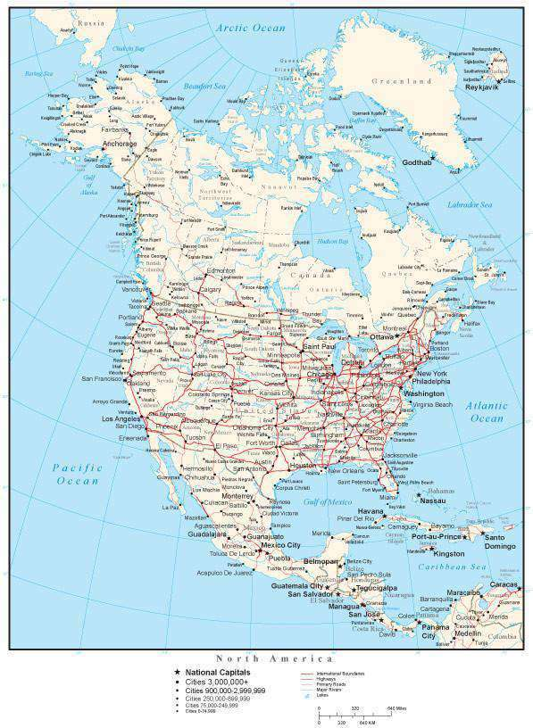 North America Map - Single Color - with Countries, Cities, and Roads ...