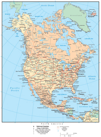 North America Map with US States, Canadian Provinces, Mexican States, Major Cities, Roads, Rivers and Lakes
