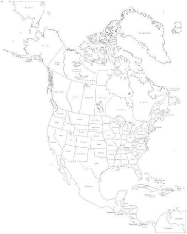 Black & White North America Map with US States & Canadian Provinces