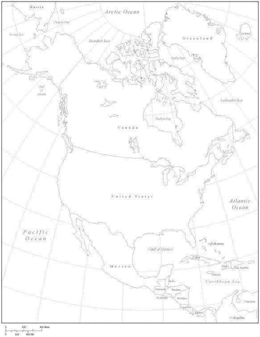 North America Black & White Map