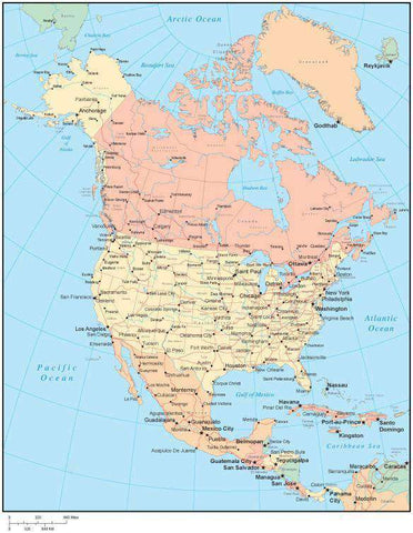 Multi Color North America Map with US States, Canadian Provinces, Major Cities & Water Features