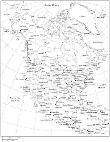 Black & White North America Map with US States, Canadian Provinces, Capitals and Major Cities