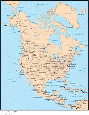 Single Color North America Map with US States, Canadian Provinces, Major Cities & Water Features