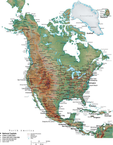 North America Terrain map in Adobe Illustrator vector format with Photoshop terrain image NOAMER-542960
