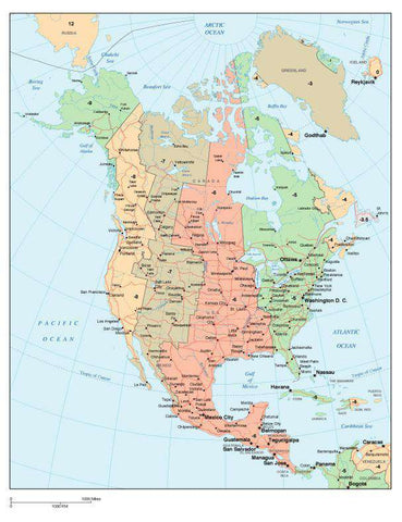 North America Map with Time Zones