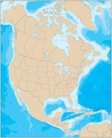 North America Map with Political Boundaries and Contours in the Water