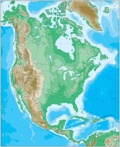 North America Map with Contours in Land and Water