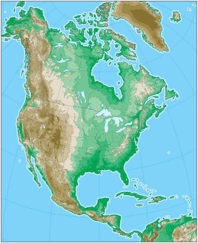 North America Map with Land Contours