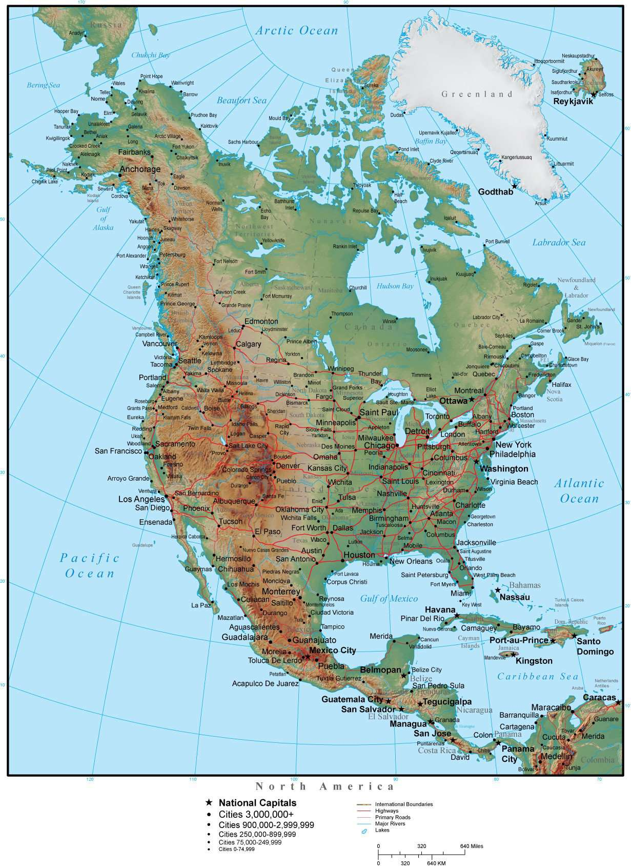 North America Map Plus Terrain with Countries, US States, Canadian  Provinces, Cities, Roads & Water Features