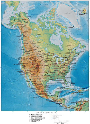 North America Map with Land and Ocean Floor Terrain