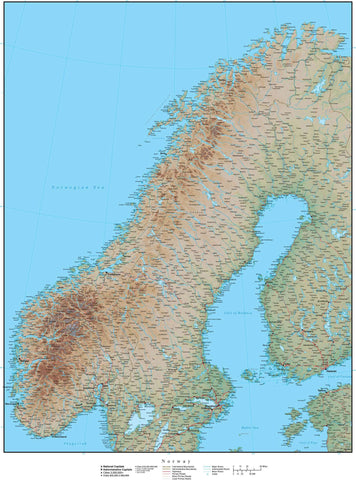 High Detail Norway Map Plus Terrain - 22 inches by 17 inches