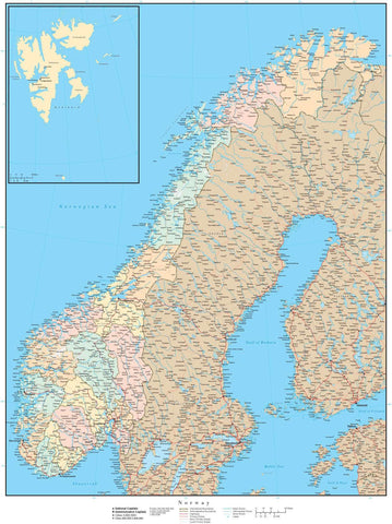 Norway Map - High Detail with Counties