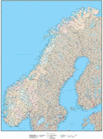 High Detail Norway Map with Counties Plus Terrain - 22 inches by 17 inches