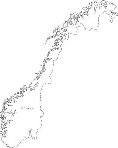 Digital Black & White Norway map in Adobe Illustrator EPS vector format