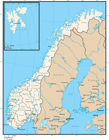 Norway Map with Administrative Areas and Capitals