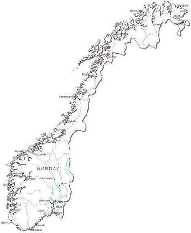 Norway Black & White Map with Capital, Major Cities, Roads, and Water Features