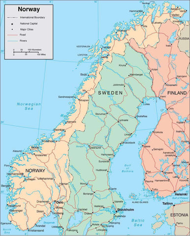 Norway Page Size Digital Map