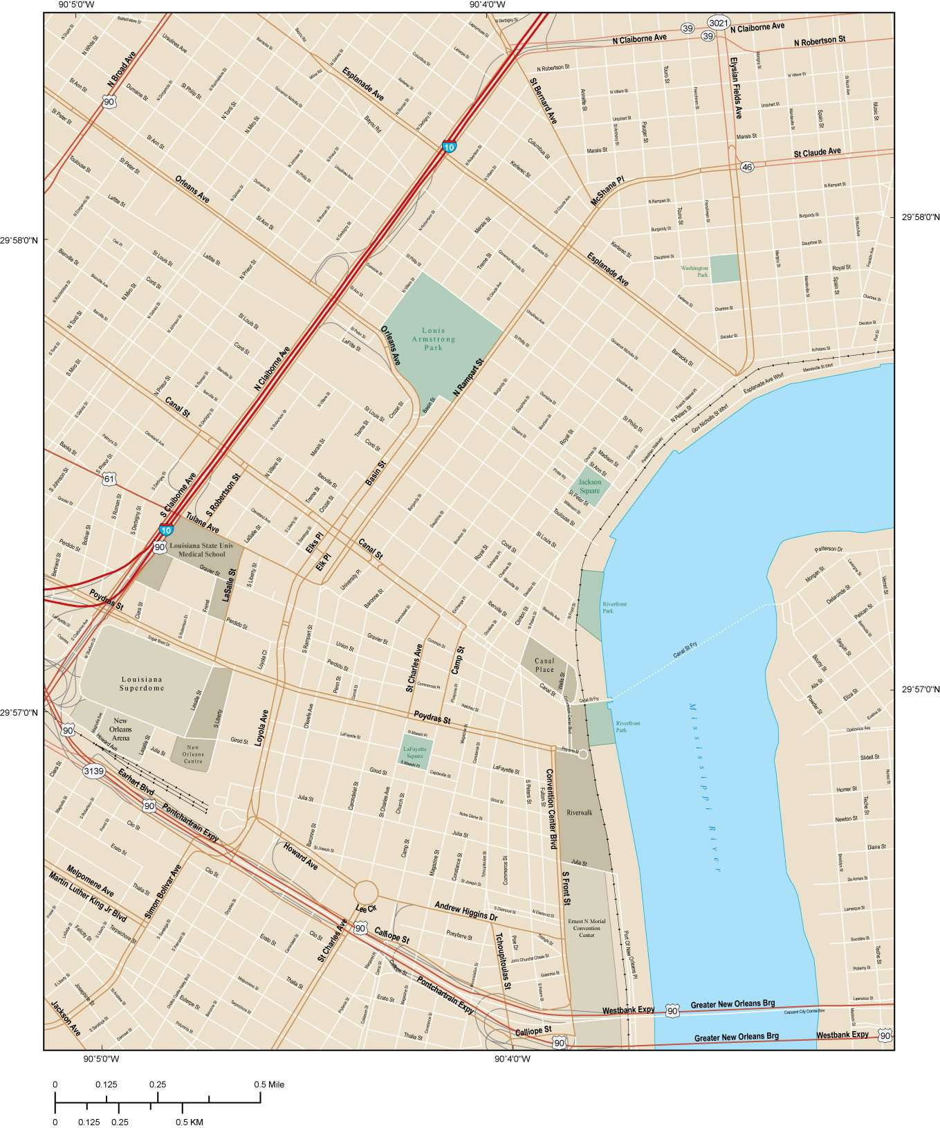 New Orleans Map With Local Streets In Adobe Illustrator Vector